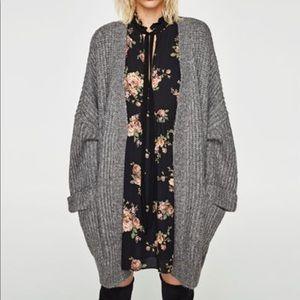 ZARA knit with wool grey kimono cardigan